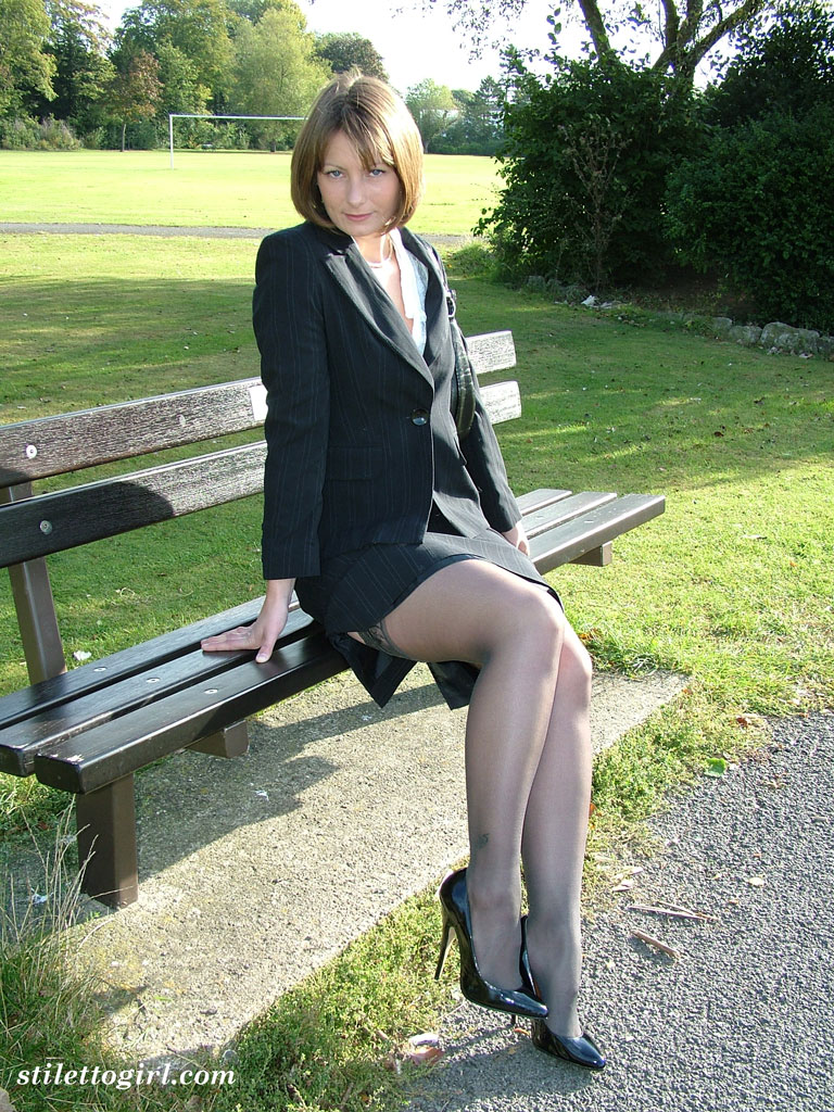 Old woman wearing stocking and high heels 8